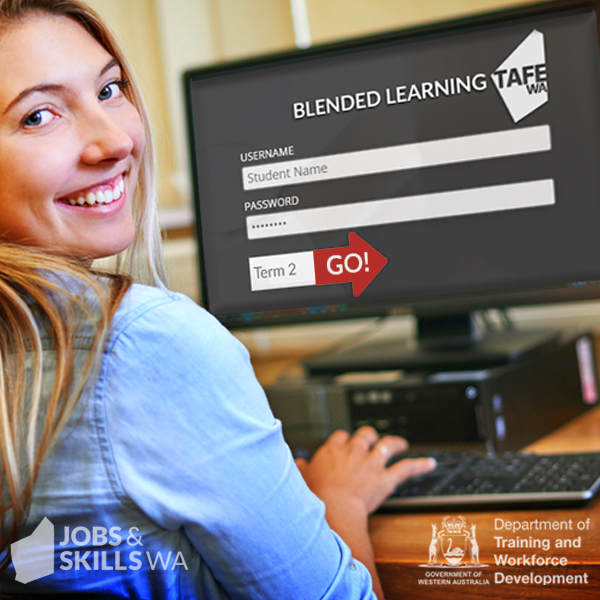 A female student doing online learning through TAFE.
