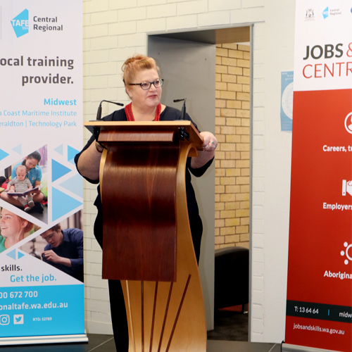 WA Minister for Education and Training, Sue Ellery, speaking at the launch of the Geraldton JSC.
