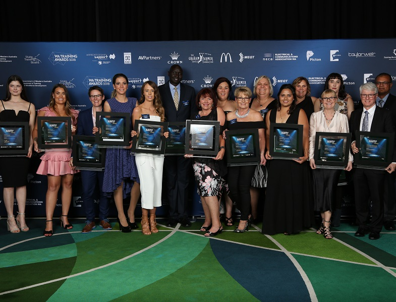Winners at the WA Training Awards 2018 presentation dinner.