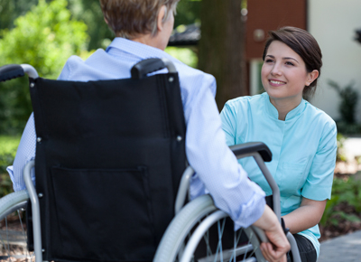 A woman working in disability support.