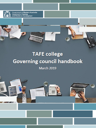 The cover of the March 2019 TAFE college governing council handbook