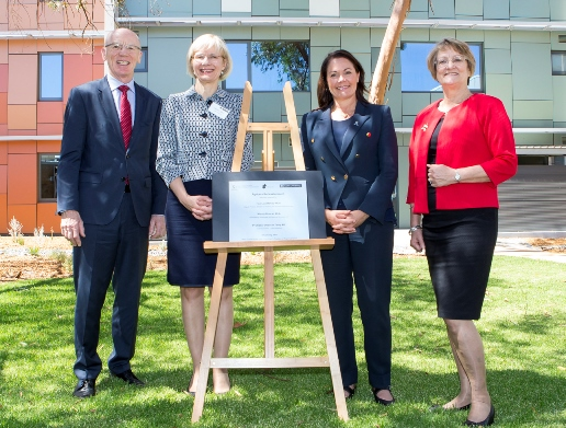 Curtin University Chancellor Colin Beckett, Vice-chancellor Professor Deborah Terry, Hon Liza Harvey MLA, Deputy Premier; Minister for Training and Workforce Development, and Member for Kalgoorlie Wendy Duncan at the opening of the Agricola Residential College. Photo by Travis Anderson (c) Curtin University.